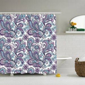Shower Curtain Flower Paisley Leaves Print